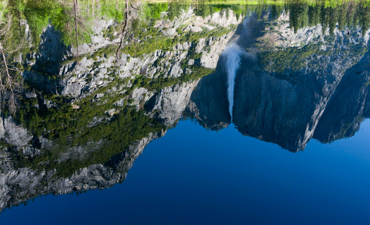 yosemite falls, reflection, photo
