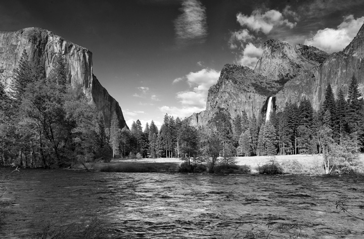 yosemite, merced river, el capitan, bridalveil falls, photo