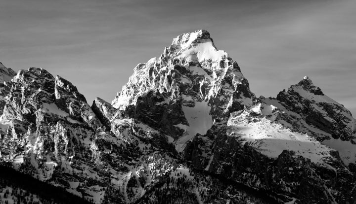 tetons, landscape, photo, photography, black and white, winter, snow, photo