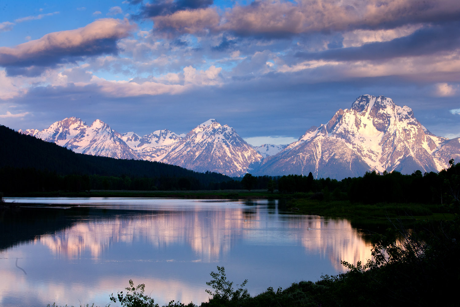 mount moran, tetons, oxbow bend, sunrise, photo