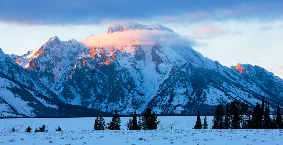 mountains, tetons, landscape, sunset, winter, snow, photo